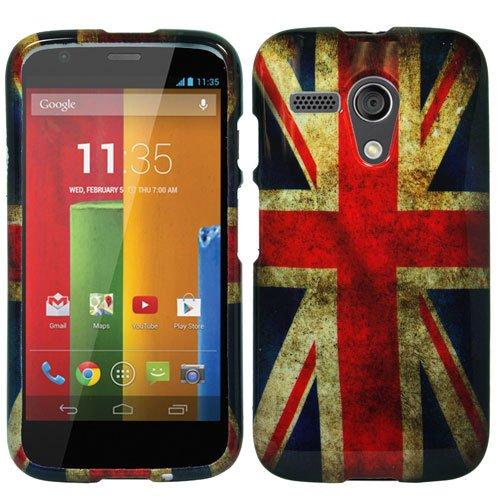 Motorola Moto G (1st Gen. 2013) - Premium Bundle Pack - British UK England Vintage Flag Design Shield Case + Atom LED Keychain Light + Screen Protector + Micro USB Car Charger