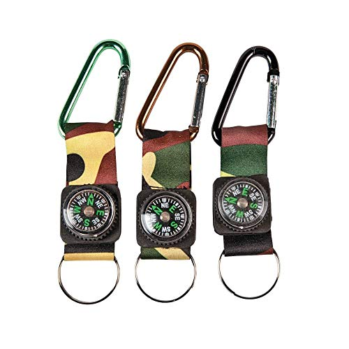 Fun Express Camouflage Army Belt Clip Compass Key Chains (1 Dozen) - Bulk