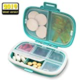 SYOSIN Portable Pill Organizer, 8 Compartments Travel Pill Organizer Daily Pill Case, Moisture