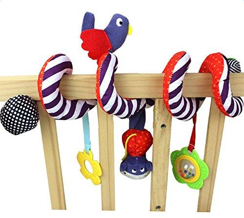 Vi.yo Cute Bird Plush Pram Spiral Toy Pushchairs Cot Toy with Musical Bells,1 Piece