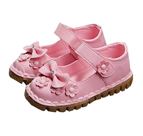 Price comparison product image Baby Toddler Girls Soft PU Leather Mary Janes Flowers Bow Dress Shoes Pink 17