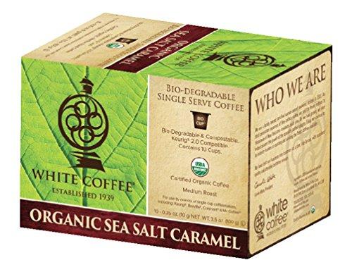 Caramel Organic Coffee - White Coffee Organic Single Serve Coffee, Sea Salt Caramel, 10 Count