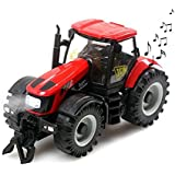 Greenery NEW 1:32 Scale Intelligence Electronic Model Car Toy Red Farmer Tractor with Music &Head Light Function Building Construction Vehicle Toy Playset for Toddler Kids Children 3 Years Old up