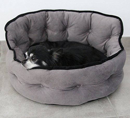 """Small dog bed or Cat bed - """"Gray"""" color - Premium Quality Washable Luxury Pet Bed With Removable and Very Confortable inside Cushion."""