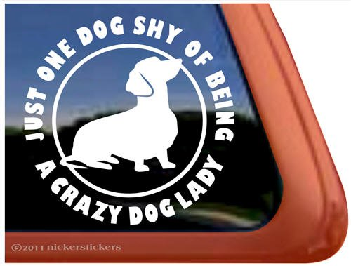 Crazy Dachshund Window Weiner Sticker