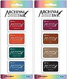 Ranger Mini Archival Ink Pad Kits #1 & #2 - 2 item Bundle