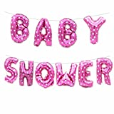 Rzctukltd Baby Shower Oh Baby It's a Boy/Girl 16' Foil Letter Balloon Party Banner +String (16' Baby Shower Pink Balloons Set)