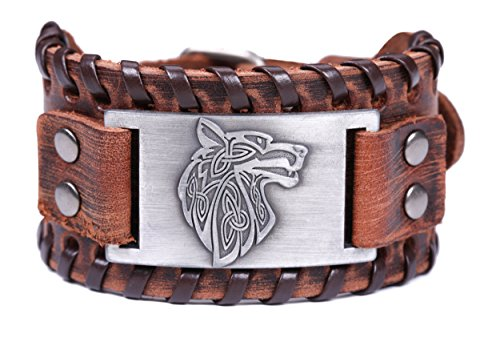 Lemegeton Viking Wolf Fenrir Braided Leather Bracelets for Men, Pagan Celtic Knot Vintage Jewelry (brown and antique silver)