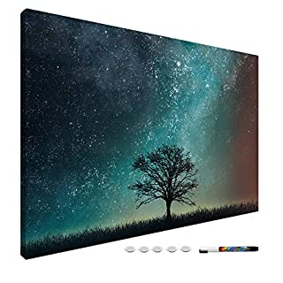 Navaris Magnetic Dry Erase Board – 24 x 36 inches Decorative White Board for Wall with Printed Design, Includes 5 Magnets and Marker – Starry Sky