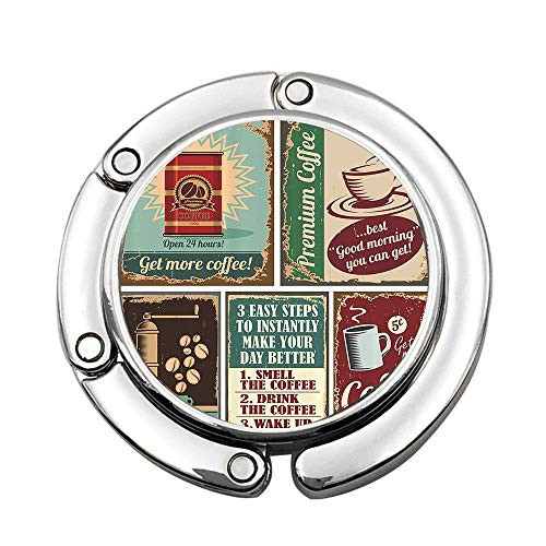 Jackie Prout ss Coffee Posters and Metal Signs Artistic Design Bean Cup Tin Espresso Mug Cappuccino Logo Custom Foldable Handbag Bag Purse Hanger Hook Holder