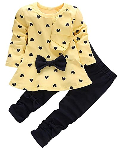 Kids Long Sleeves Cute Heart Pattern T Shirt Tops with Bow Tie + Pants Set 2 Pieces Outfit Suit for Toddler Baby & Little Girls, Yellow, Age 3T-4T (3-4 Years) ()