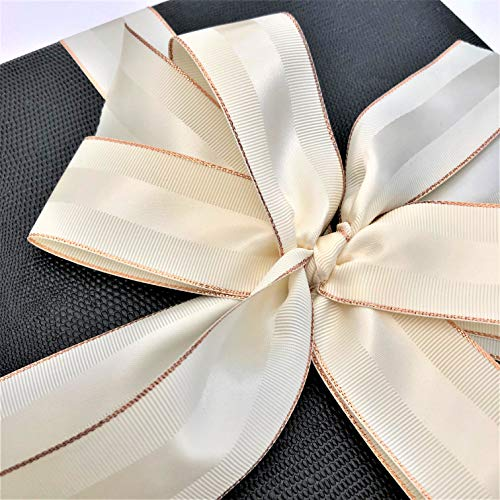 Antique White & Rose Gold Grosgrain Ribbon 1 1/2 Inch, 10 Yards of Double Face, 1.5 Inch, Premium Fabric Ribbon with Metal Trim for Elegant Gifts, Party Favors, Baby Showers, Crafts, Christenings