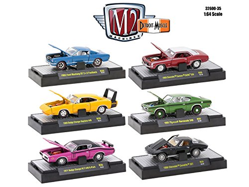 M2 Machines Detroit Muscle 6 Cars Set Release 35 in Display Cases 1/64 32600-35 (Muscle Machines)