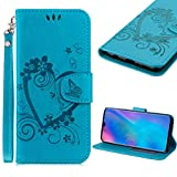 Cistor Strap Wallet Case for Huawei P30 Lite [Not for Huawei P30],Stylish Embossed Love Heart Butterfly Flip Cover Shockproof PU Leather Stand Protective Case with Card Slot Magnetic Clasp for Huawei P30 Lite,Blue