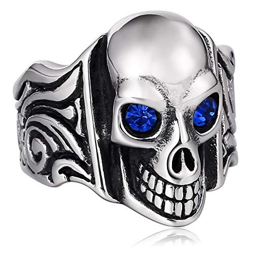 - ANAZOZ Mens Rings Stainless Steel Signet Ring Punk Chic Skull Skeleton Crystal Blue Ring Size 11