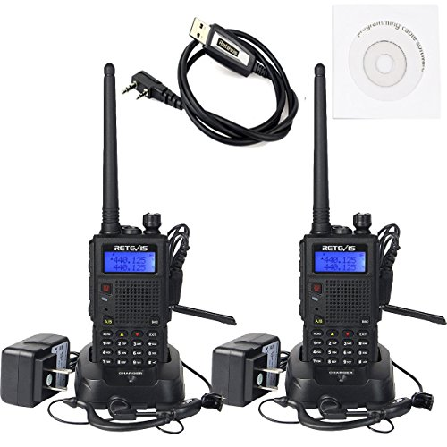 Retevis RT5 Walkie Talkies Rechargeable 7W Dual Band Radio 136-174/400-520MHz FM Scan VOX Car Charging Function Ham Radio(Back,2 Pack)with Programming Cable (Range Handheld Long)