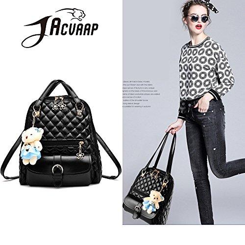 (JVP1031-P) bolso de las señoras mochila de cuero de LA PU rosa de gran capacidad bolsa de viaje de vuelta señoras 3 way bolso de hombro de la manera de moda suburbano ligero escuela Negro