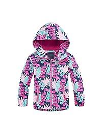 Achiyi Baby Girls Hooded Fleece Lined Jacket Kids Rain Jacket Waterproof Coat Raincoat Light Windbreaker for Camping Hiking