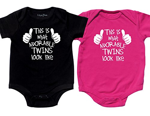 Nursery Decals and More Twin Girl and boy Bodysuits, Includes 2 Bodysuits, 0-3 Month Adorable Twins