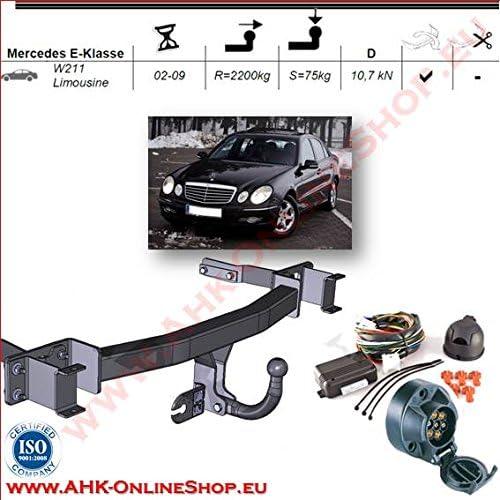 starr AHK Anh/ängerkupplung mit Elektrosatz 7 polig f/ür Mercedes W211 E-Series 2002 Stufenheck Anh/ängevorrichtung H/ängevorrichtung mit angeschraubtem Kugelkopf