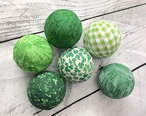 St Patricks Day green fabric wrapped balls orb- set of 6 bowl fillers