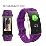 2018 NEW Fitness Tracker HR - Heart Rate Monitor Activity Band Blood Pressure Sleep Monitor Pedometer - 0.96inch TFT Colorful OLED Screen Waterproof Bluetooth Smart Bracelet for Kids Women Men (Purple)