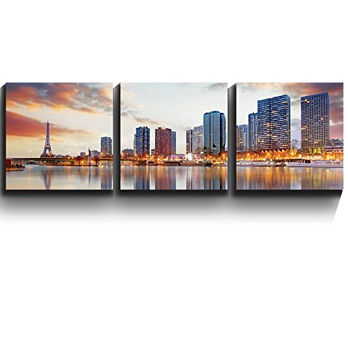 3 Square Panels Contemporary Art Paris sunset with the Eiffel Tower Three Gallery ped Printed Piece x 3 Panels