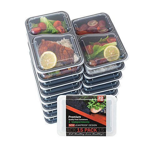 Food Storage Container Meal Prep Container Leak proof Lunch Containers Meal Prep Container Bento Box Container Airtight Lid Dishwasher Microwave SAFE Plastic Food Container (15, 2-Compartments, 30 Oz)