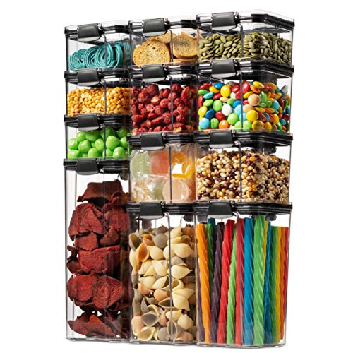 12 Pack Airtight Food Storage Container Set – Kitchen & Pantry Organization Containers – BPA Free Clear Plastic Kitchen…