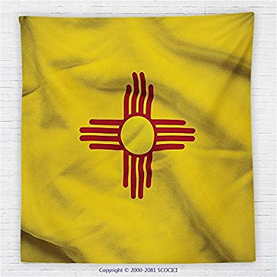 59 x 59 Inches American Decor Fleece Throw Blanket New Mexico of United States Flag Sun Symbol of the Zia on a Field Waving Blanket