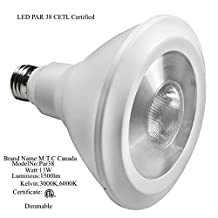 Led Par 38 Bulb 13W (13W=120W Halogen), 1550 Lumens, 6000K , Cool White, Dimmable, Input Voltage- 85-265V, Lifetime-50,000 Hours, CETL Certified, Pack of 24 Pieces, Price of 24 Pieces=$300.00 Cad, Price of 1 Piece= $12.50 Cad, For Sale, Canadian Company Canadian stock
