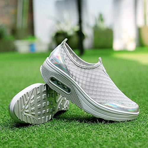 Sports Soled Sneakers Outdoor Womens Holywin Bottom Casual Gray Thick Soft Shoes Mesh Shoes w4Tc6RqI