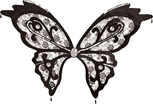 [Adult Ladies Dark Fairy Fancy Dress Hen Party Butterfly Wings Clear Black Lace] (Dark Fairy Wings Costume)