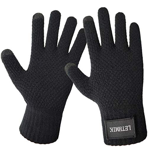 LETHMIK Mens&Womens Winter Touchscreen Gloves,Unisex Knit Gloves with 2 Texting Fingers for SmartPhones