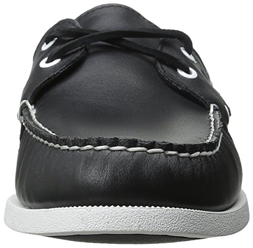 Sperry A/O 2-Eye Leather 0195214 - Mocasines de cuero para hombre Negro/Blanco