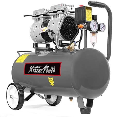 XtremepowerUS 1.0 hp Ultra Quiet Air Compressor Tank Oil-Free Compressor Steel Tank 8 Gallons w/Air Filter Regulator Grey