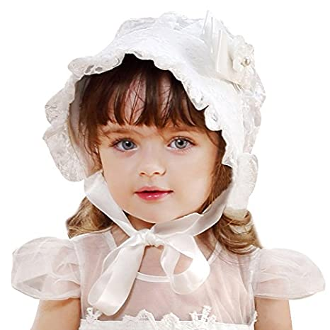 Nrpfell Lace Girls Hat Flower Princess Sun Hat Lace Up Girls Palace Beanie European Style Baby Hat Baby Girls White
