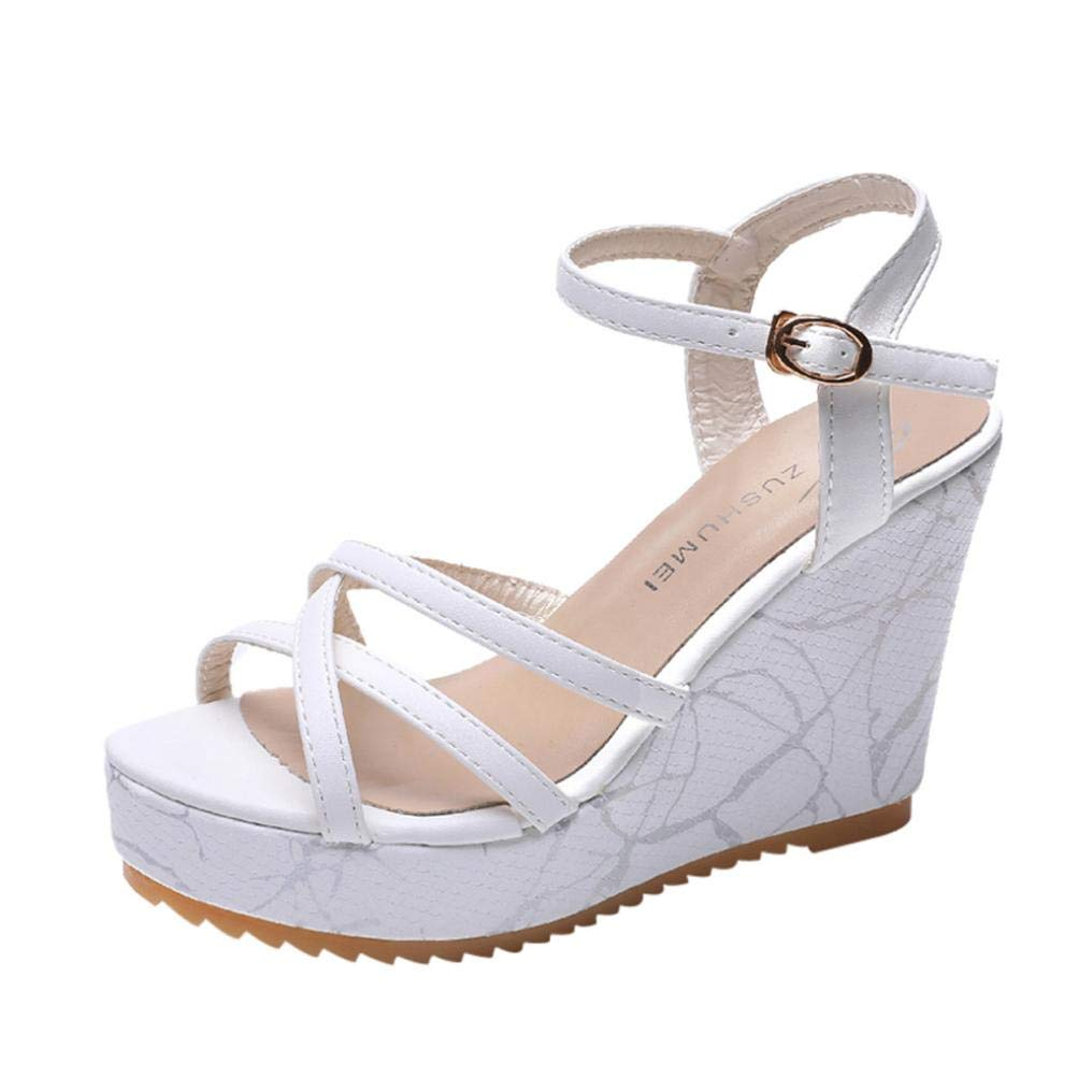 Clearance Universal Boho Braided Platform Sandal for Women, Junior Girl Gladiator Flip-Flop Fish Mouth High Heels Ankle Strap Buckle Slope Sandal Flat Summer Shoes (Size 6, White)