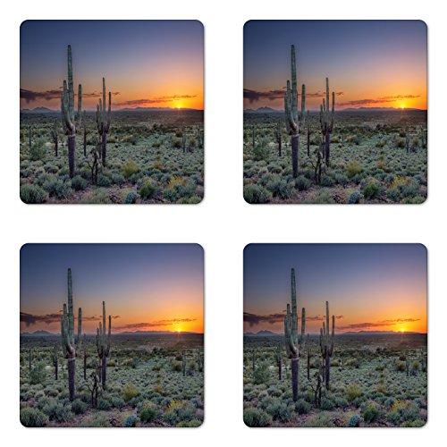 Lunarable Saguaro Coaster Set of 4, Sunset over the Phoenix Valley in Arizona Mountain State Park, Square Hardboard Gloss Coasters, Standard Size, Blue Orange (Phoenix Furniture Restaurant)