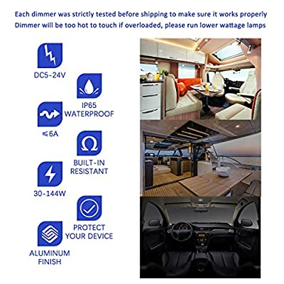 ALOVECO 12 Volt DC Dimmer Switch for LED RV Lights Interior, 5-24 Volts LED Ceiling Dome Lights Dimmer and Switch for Camper, Recreational Vehicle, Halogen, Auto, Truck, Marine and Strip Lighting: Automotive