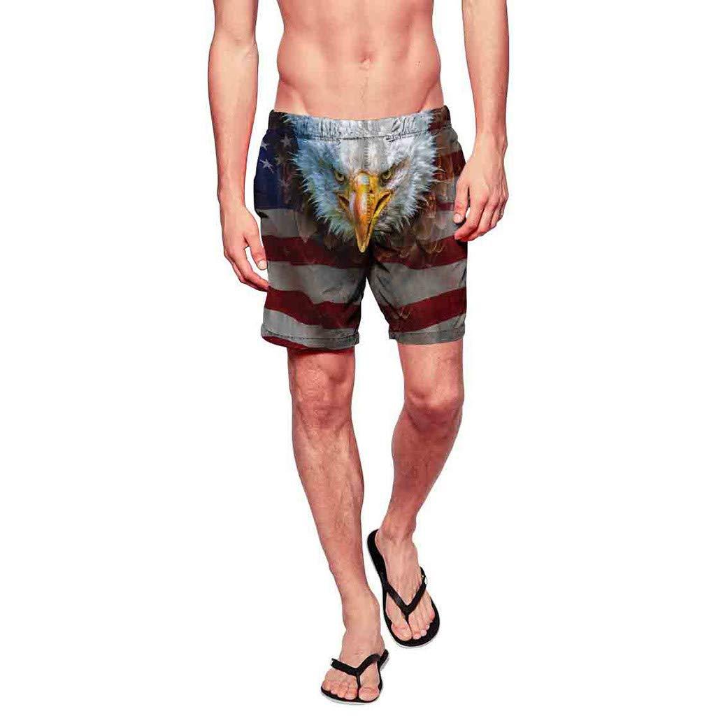 Colmkley Men Swim Trunks Print Quick Dry Surfing Beach Board Short Elastic Waist