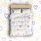 Libaoge 4 Piece Bed Sheets Set, Rainbow Color Heart Shapes Print, 1 Flat Sheet 1 Duvet Cover and 2 Pillow Cases