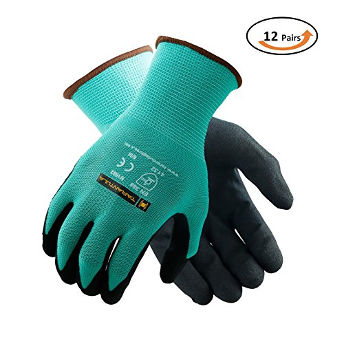 TARANTULA Nitrile Coated Safety Work Gloves for General Purposes, Lightweight Work Gloves, 13 Gauge Mint Green Polyester Shell, Black Sandy Nitrile on Palm and Fingers, 12 Pair Per Pack ()
