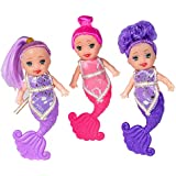 FunCo Kidz Mini Mermaid Doll Set 4-inch Assorted Colors for Party Favors, Gifts, Prizes, School Rewards (3)