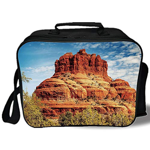 (Insulated Lunch Bag,Western,Famous Bell Rock and Courthouse Butte in Sedona Arizona USA Nature Desert Decorative,Cinnamon Blue Green,for Work/School/Picnic, Grey)