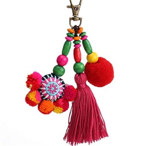Nowbetter Llavero con pompón de Borla Boho, Colorido, con Flecos Largos, Mujeres y niñas, Style 2, 15 cm