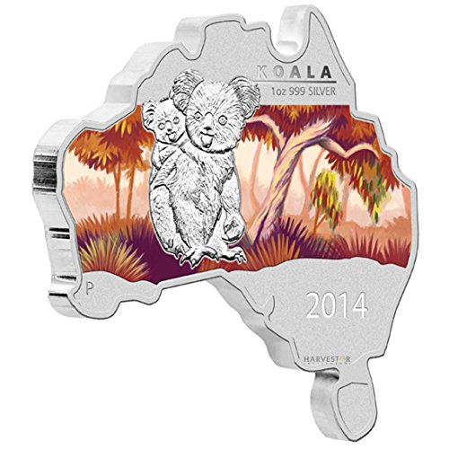 Coin Silver Shaped (2014 AU Silver Map Shaped Coin Series - Koala - Fifth Coin of the Series $1 Brilliant Uncirculated)