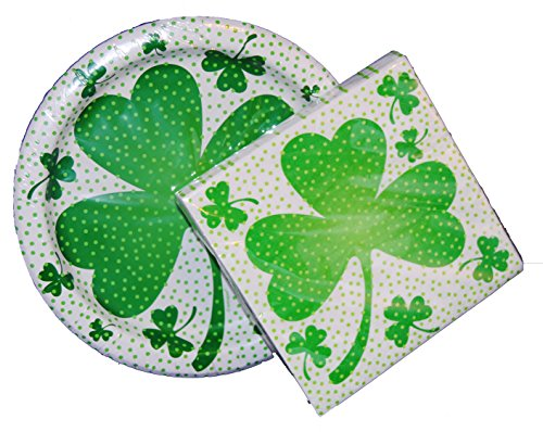 St. Patrick's Day Sprinkle Green Design Shamrock Dessert Plates and Napkins f...