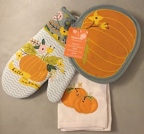 Fall Pumpkin Kitchen Towel, Oven Mitt,
