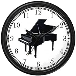 Grand Piano Musical Instrument 1 - Music Theme Wall Clock by WatchBuddy Timepieces (Black Frame)